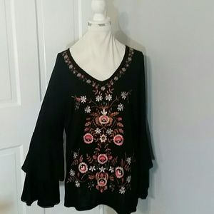 INC Woman black boho blouse.   Sz 1X